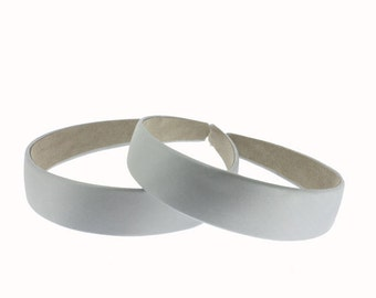 25mm (1 inch) Satin Covered Headband in Silver - 2 pieces