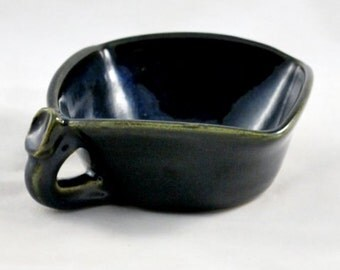 Square Soup Bowl with Thumb Rest Wheel Thrown Clay Pottery