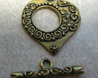 SALE  Bronze Heart Toggle Clasp