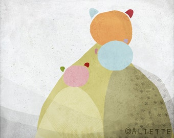 Pastelle 09 - Children - Art - Print -  Illustration - Abstract -Nursery wall art - Baby room decor - Bear - Family - Grey Orange Khaki Blue