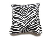 Lynne's Bargain Basement Decorative Pillow Cover Black White Zebra Design Toss Throw Accent 16x16 inch