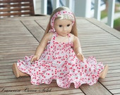 """Doll Clothes American Girl Cherry tiered twirl dress and headband 18"""" doll style or 23"""" doll - Celine"""