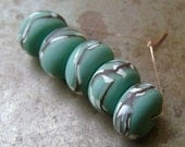 Teal Willow Disk Beads
