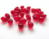 Smooth Ruby Red Glass Teardrop Briolettes, 9mm x 6mm - 25 pieces