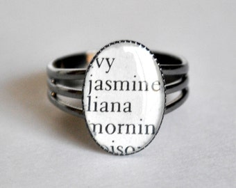Thesaurus Word Ring - Recycled Book Jewelry - Adjustable Ring Jasmine