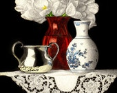 Red Vase and Lace Note Card - sandrawillard