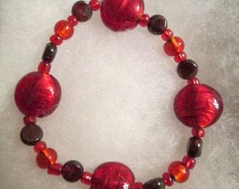 SALE - Red Lampwork Glass and Garnet Bracelet and Earrings Set