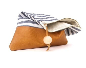 Stripe Bag. Brown Leather Clutch. Gift For Her. Leather bag. Travel Bag. Foldover Clutch. Ipad Case. Leather Purse. Travel Case. Ikat Clutch