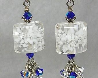 Glitterbug Originals SNoWSToRM aT MiDNiGHT Handmade BLUE and WHITE Lampwork Art Glass Earrings SRAJD