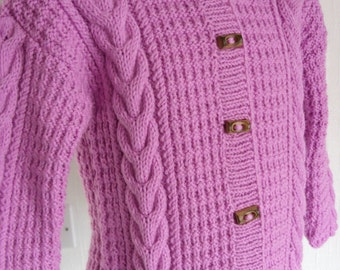 KNIT DUFFLE COAT/Handknitted Princess Pink Hooded Duffle Coat for 2-3 yr old-Knitted Childs Sweater. Ready to Ship
