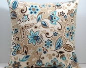 Beige Blue Brown and Cream Lacey Floral decorative throw pillow cover 18 x18 inches Accent cushion sham slipcover couch pillow.