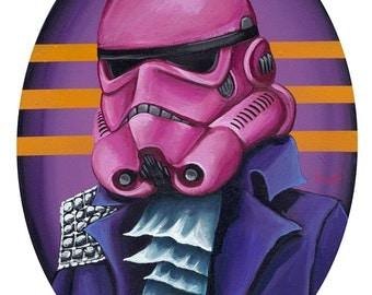 Digital print on 12x18 from Original Portrait of Pink Strom Trooper Helmet in Prince 80s Purple Jacket