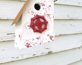 Outdoor Garden Birdhouse Decorative Bird House Reclaimed Vintage Faucet Red & White Cottage