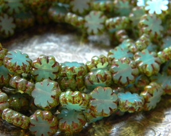 Aqua Blooms (10) -Czech Glass Daisy Flowers 9mm