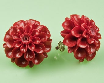 Large Vintage Red Mum Post Earrings