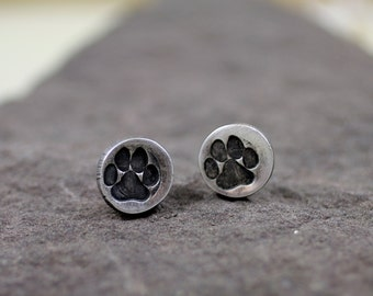 Fine Silver Paw Print Post Earrings