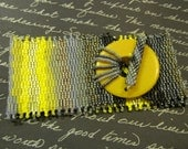Beadwoven Bracelet Dawn To Dusk 3 drop peyote handbeaded yellows,grey, black backelite clasp