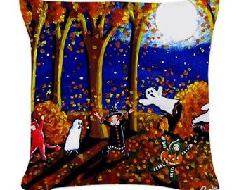 Kids Halloween Leaves Fun Folk Art Pillow - Woven Throw Pillow Whimsical Art by Renie Britenbucher