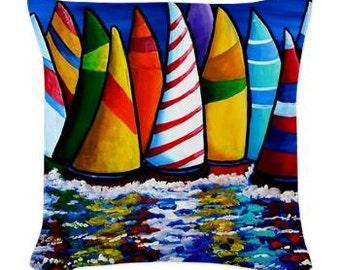 Sailboats Abstract  Folk Art Pillow - Woven Throw Pillow Whimsical Art by Renie Britenbucher