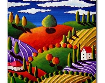 Tuscan Landscape Colorful  Whimsical Folk Art Ceramic Tile