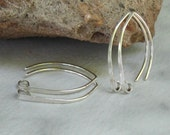 Sterling Silver Almond Earwires (20 gauge) Hammered Wide Flat Fronts 2pr, Bright or Oxidized - MTO Jewelry Findings