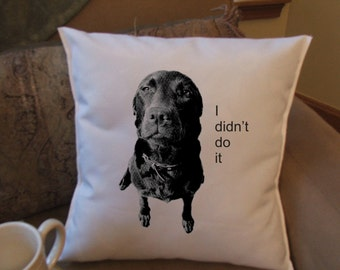 i didn't do it throw pillow, decorative pillow, funny dog pillow cover