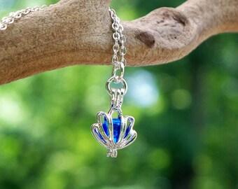 Recycled  Vintage Cobalt Noxzema Jar Silver Necklace