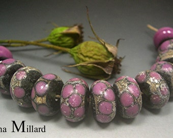 HANDMADE LAMPWORK GLASS Bead Set Donna Millard rustic relic assemblage black rose pink autumn fall winter