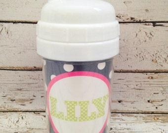 personalized PREPPY girl spill proof sippy cup in navy, pink and green