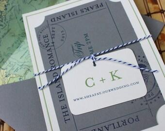 Compass Flat Card Wedding Invitation (Peaks Island, Maine) - Design Fee