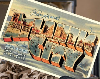 Vintage Large Letter Postcard Save the Date (Atlantic City) - Design Fee