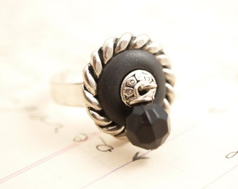 Black and Silver Bead Ring One of a Kind Handmade