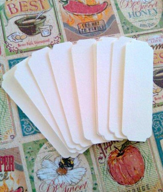 20 soft white bookmark blanks scalloped corners