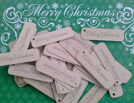 Set of 50, Chipboard, Merry Christmas tags
