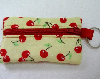 Cherry Coin Purse - Cherries on Yellow Change Purse - Coin Purse Key Chain - Cherry Ear Bud Case