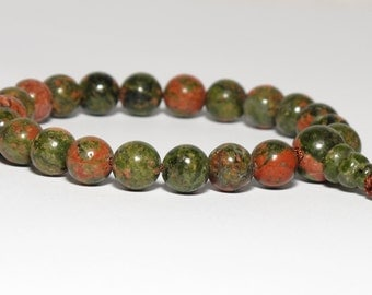 Unakite Wrist Mala : Buddhist Japa Mala / Juzu Beads / 8mm / Short Mala / Heart Chakra / 4th Chakra / Meditation Prayer Beads