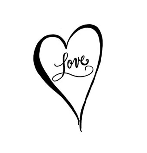 Calligraphy Love Heart Rubber Stamp Large