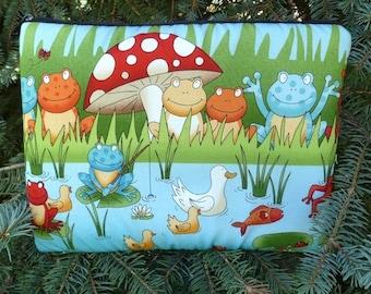 Frog iPad mini case, optional shoulder strap or wristlet, frog pond, The Spruce