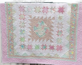 Pastel Springtime Medallion Patchwork Quilt