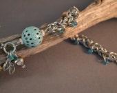 Opalescent Green Interrupted Byzantine Chain Maille Bracelet - Enamel, Flip Flops, Freshwater Pearl, Sterling Silver