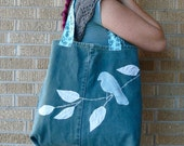 SALE Upcycled Fabric Scraps Blue Bird on a Branch - Recycled Tote Bag for Summer