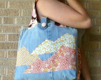 Upcycled Tote Bag Sunshine and Wildflowers in Rocky Mountains