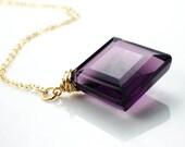 Faceted Purple Quartz Square Pendant 14k Gold Fill Regal Necklace