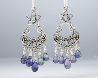 Iolite Chandlier Earrings - Iolite Gemstone Faceted Drops and Sterling Silver