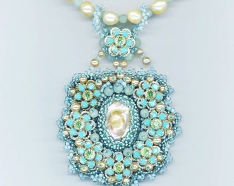 Blue Beadwoven Necklace . Aqua Blue. Swarovski Crystals . Baroque Dome . Amazonite . Vintage Pearls - Love is Blue by enchantedbeads on Etsy