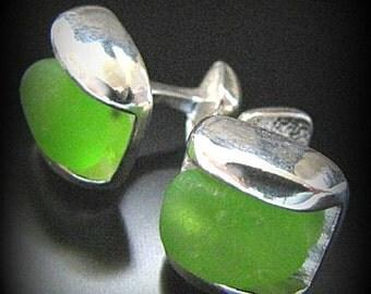 Sea Glass Jewelry, For Him, Emerald Green Holiday Sea Glass Cufflinks - Sterling Silver - Wedding, Groom Jewelry, Jewellery