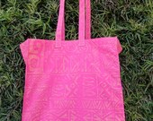 Market Bag in Pink Cotton with Yellow Polynesian Block Printing