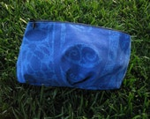 Clutch or Cosmetic Bag in Blue Cotton with Light Blue Polynesian Design