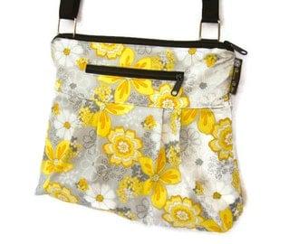 iPad Purse Kindle Handbag iPad Shoulder Bag Nook Purse Padded Electronics Pocket LARGE HOBO BAG Oopsie Daisy Fabric