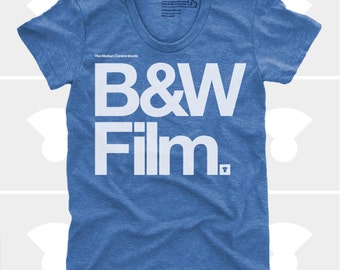 Women's TShirt Black & White Film (Women), Womens Top, S,M,L,Xl, Film Camera Typography Shirt (4 Colors) for Women